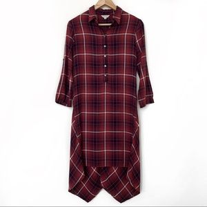 Max Studio Plaid Button Shirt High Low Red Dress